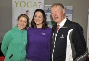 Senior Teacher Lisa Fahy and Business Manager Anne Marie Ruby with Micheál Ó Muircheartaigh
